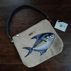 Louella Odie Pomfret Embroidered Slouchy Pouch NWT